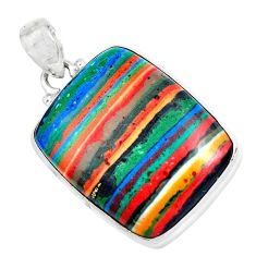 Clearance Sale- 22.30cts natural multicolor rainbow calsilica 925 sterling silver pendant d31230