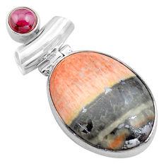 28.73cts natural orange celestobarite garnet 925 sterling silver pendant p85306