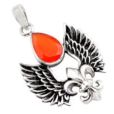 5.38cts natural orange cornelian (carnelian) silver feather charm pendant p86856
