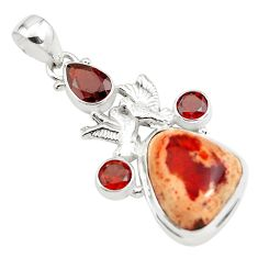 18.49cts natural orange mexican fire opal 925 silver love birds pendant p78092