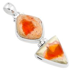 Clearance Sale- 24.38cts natural orange mexican fire opal 925 sterling silver pendant d31889