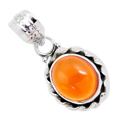 4.87cts natural orange mexican fire opal 925 sterling silver pendant p41523