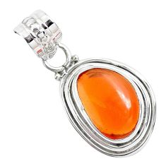4.67cts natural orange mexican fire opal 925 sterling silver pendant p41531