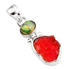 8.95cts natural orange mexican fire opal ethiopian opal silver pendant p92975