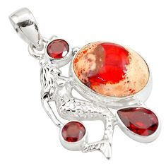 14.21cts natural orange mexican fire opal silver fairy mermaid pendant p78084