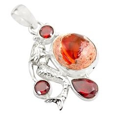 16.17cts natural orange mexican fire opal silver fairy mermaid pendant p78089