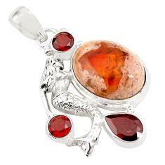 16.93cts natural orange mexican fire opal silver fairy mermaid pendant p78096