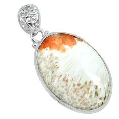 27.64cts natural orange scolecite high vibration crystal silver pendant p66292