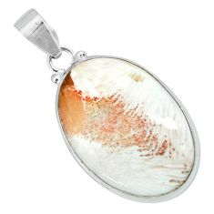 20.51cts natural orange scolecite high vibration crystal silver pendant p66297