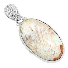 29.34cts natural orange scolecite high vibration crystal silver pendant p66298