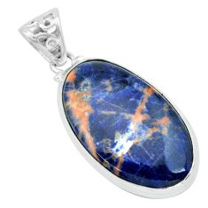 24.38cts natural orange sodalite 925 sterling silver pendant jewelry p66322