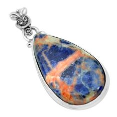 16.73cts natural orange sodalite 925 sterling silver pendant jewelry p66330