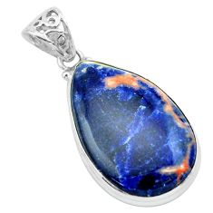 22.90cts natural orange sodalite 925 sterling silver pendant jewelry p66335