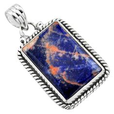17.22cts natural orange sodalite 925 sterling silver pendant jewelry p85445