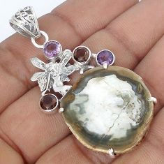 NATURAL PETRIFIED WOOD FOSSIL AMETHYS SILVER ANGEL WINGS FAIRY PENDANT G10675