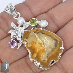 NATURAL PETRIFIED WOOD FOSSIL AMETHYS SILVER ANGEL WINGS FAIRY PENDANT G10680