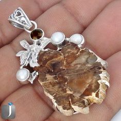 NATURAL PETRIFIED WOOD FOSSIL PEARL 925 SILVER ANGEL WINGS FAIRY PENDANT G10661