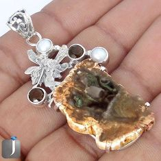 NATURAL PETRIFIED WOOD FOSSIL PEARL 925 SILVER ANGEL WINGS FAIRY PENDANT G10671
