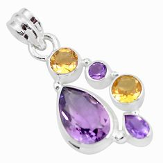 8.14cts natural pink amethyst citrine 925 sterling silver pendant jewelry p59281