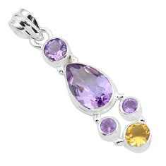 7.40cts natural pink amethyst citrine 925 sterling silver pendant jewelry p59282