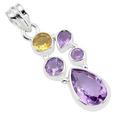 8.44cts natural pink amethyst citrine 925 sterling silver pendant jewelry p59285