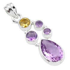 8.81cts natural pink amethyst citrine 925 sterling silver pendant jewelry p59290