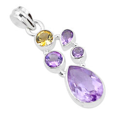 8.70cts natural pink amethyst citrine 925 sterling silver pendant jewelry p59292