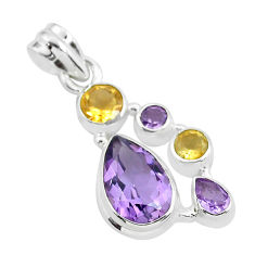 8.22cts natural pink amethyst citrine 925 sterling silver pendant jewelry p59294