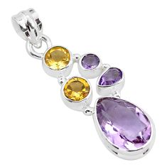 8.70cts natural pink amethyst citrine 925 sterling silver pendant jewelry p59296