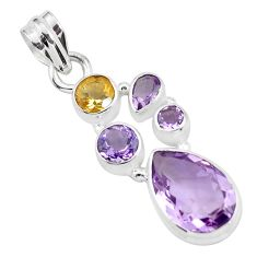 9.07cts natural pink amethyst citrine 925 sterling silver pendant jewelry p59297