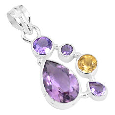 8.42cts natural pink amethyst citrine 925 sterling silver pendant jewelry p59313