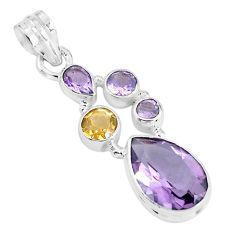 9.39cts natural pink amethyst citrine 925 sterling silver pendant jewelry p59315