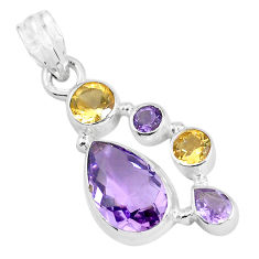 8.76cts natural pink amethyst citrine 925 sterling silver pendant jewelry p59318