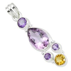 8.44cts natural pink amethyst yellow citrine 925 sterling silver pendant p59298