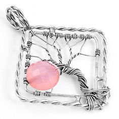 5.06cts natural pink chalcedony 925 sterling silver tree of life pendant p43084