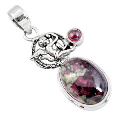 13.36cts natural pink eudialyte 925 silver cupid angel wings pendant p56842