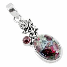 13.79cts natural pink eudialyte 925 silver cupid angel wings pendant p56857