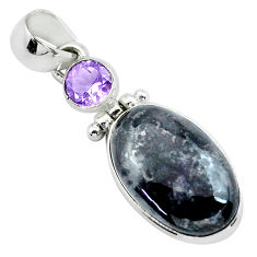 11.66cts natural pink eudialyte amethyst 925 sterling silver pendant p53889