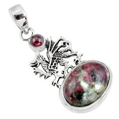 14.21cts natural pink eudialyte garnet 925 sterling silver dragon pendant p56844