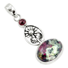 13.09cts natural pink eudialyte garnet 925 sterling silver flower pendant p56849