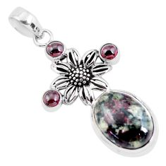 16.51cts natural pink eudialyte garnet 925 sterling silver flower pendant p56852