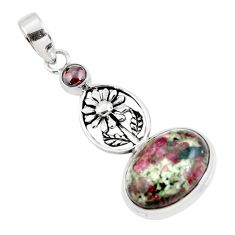 13.28cts natural pink eudialyte garnet 925 sterling silver flower pendant p56859
