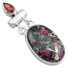 16.73cts natural pink eudialyte red garnet 925 sterling silver pendant p85578