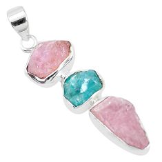 14.90cts natural pink morganite rough apatite rough 925 silver pendant p35165