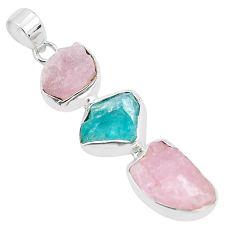 16.70cts natural pink morganite rough apatite rough 925 silver pendant p35172
