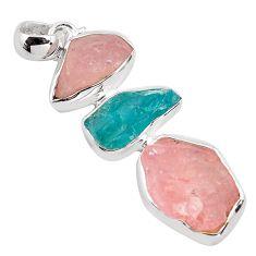 17.47cts natural pink morganite rough apatite rough 925 silver pendant p88085