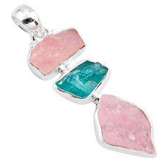 16.06cts natural pink morganite rough apatite rough 925 silver pendant p88088