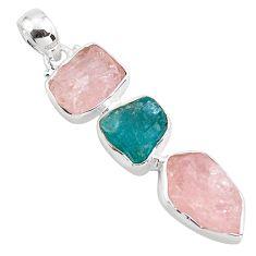 15.02cts natural pink morganite rough apatite rough 925 silver pendant p88092