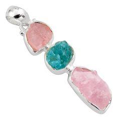 13.66cts natural pink morganite rough apatite rough 925 silver pendant p88095