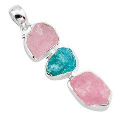 18.46cts natural pink morganite rough apatite rough 925 silver pendant p88096